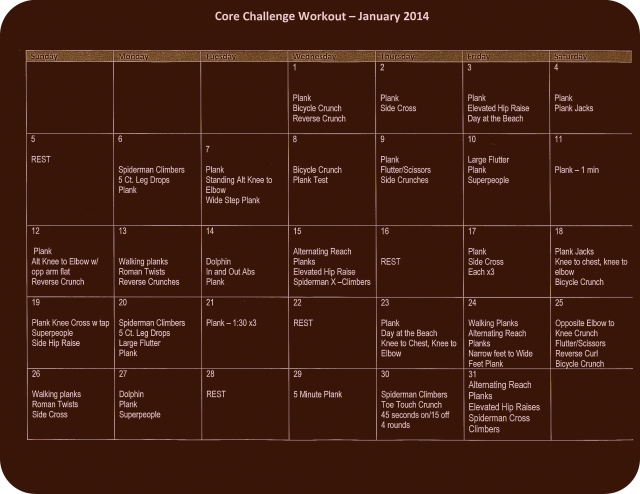Core Challenge Workout - January 2014